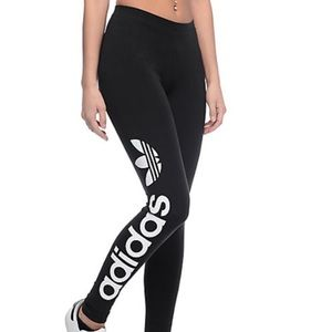 ADIDAS Logo Leggings Black Large EUC